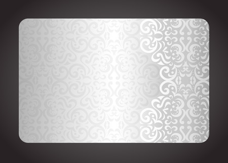 Luxury silver card with vintage pattern Vectores