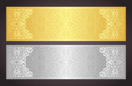 gift in celebration of a birth: Lujo certificado de oro y plata de regalo en estilo vintage Vectores