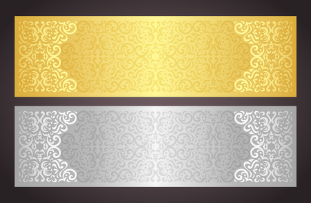 luxury: Luxury golden and silver gift certificate in vintage style