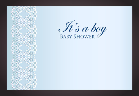 Baby shower invitation for boy with imitation of lace Vector