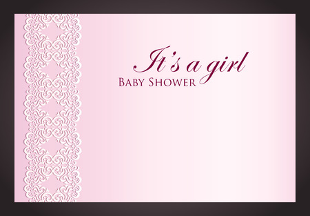 Baby shower invitation for girl with imitation of lace Vector