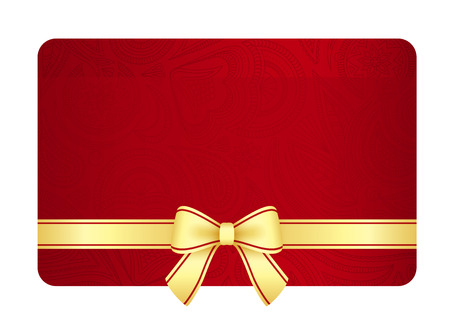 Gold gift card with red ribbon and vintage floral pattern