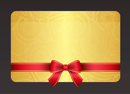 Gold gift card with red ribbon and vintage floral pattern Stock fotó - 32230312