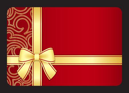 Red Geschenk-Karte mit goldenen wirbelt und Band