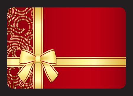 Red gift card with golden swirls and ribbon