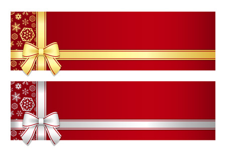 Luxury Christmas gift certificate with golden or silver ribbon and snowflakes 版權商用圖片 - 32230325
