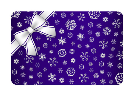 Dark blue Christmas card with silver snow flakes and ribbon in the corner Vector