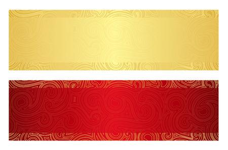 渦巻き模様のパターンを持つ高級黄金と赤ギフト券  イラスト・ベクター素材