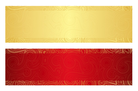 Luxury golden and red gift certificate with swirl pattern