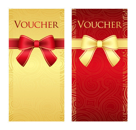 Vertical gold and red voucher with ribbon and swirl pattern Vector