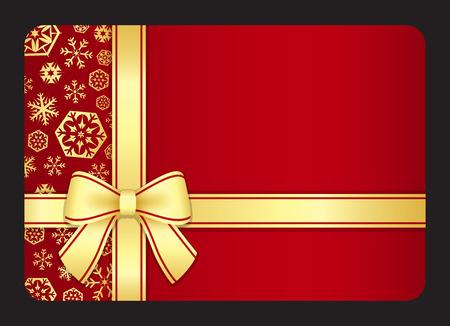 Rode gift card met gouden sneeuwvlokken en lint