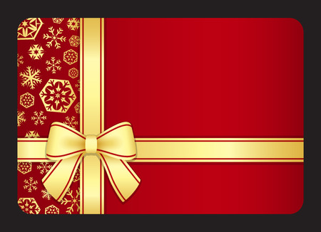 Red gift card with golden snowflakes and ribbon Vectores