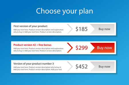 Modern template for 3 pricing plans with 1 recommended Ilustração