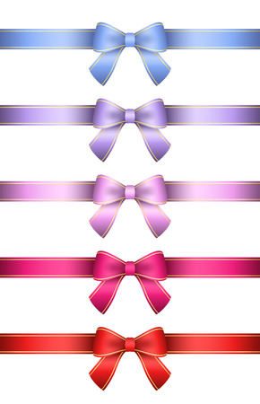 Collection of ribbons with golden stripe Vector