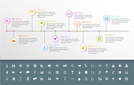 Timeline template in sticker style with set of icons. Light background
