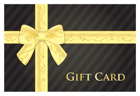 Black gift card with golden ribbon with floral pattern