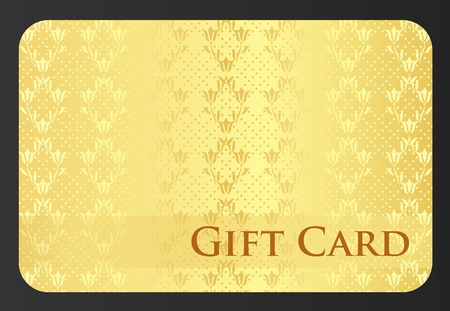 Golden gift card with tulip ornament Vector