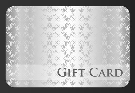 Exclusive silver gift card with damask ornament Vector