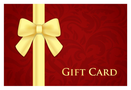 Red gift card with victorian pattern and golden ribbon Vector
