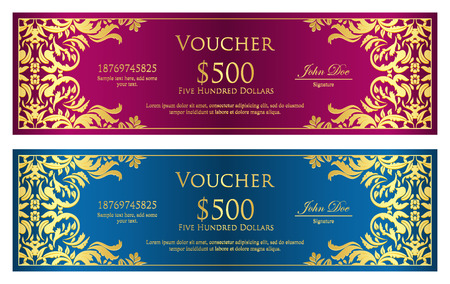Luxury magenta and blue voucher with vintage ornament Vector