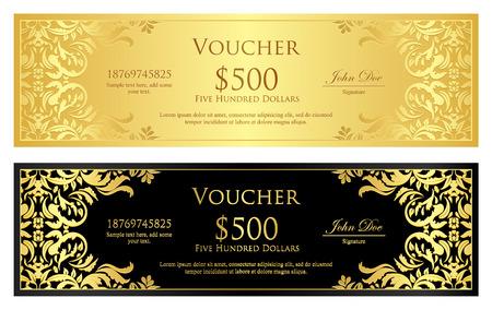 Luxe gouden en zwarte voucher met vintage ornament Stockfoto - 33315986