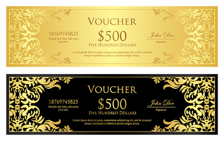 Luxury golden and black voucher with vintage ornament Vector