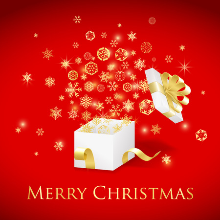 ribbons vector: Christmas gift box with gold ribbon and flying snowflakes