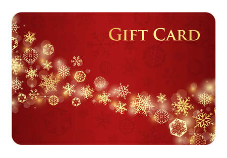 Exclusive red christmas gift card with stream of golden snowflakes