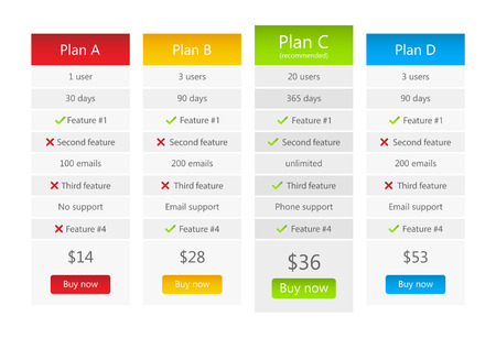 version: Light pricing table with 4 plans