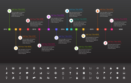 narrate: Modern flat timeline with rainbow milestones on dark background