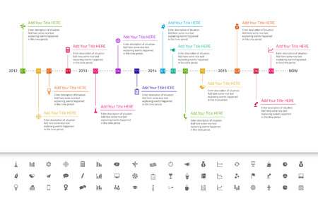 Modern flat timeline with red, orange and yellow icons Illustration