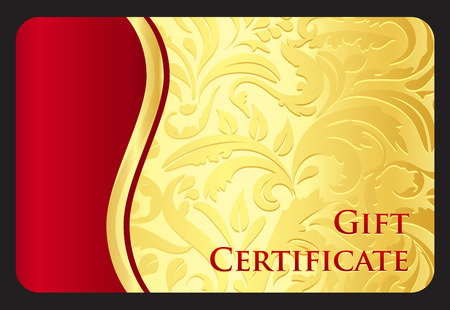 Exclusive golden gift card with victorian pattern