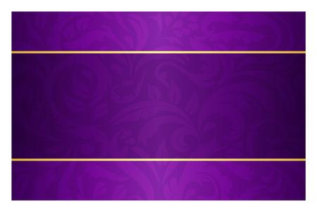 Purple karta s vintage vzorem a zlatým štítkem