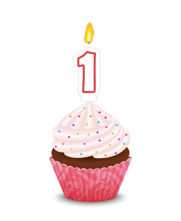 lit candles: Birthday cupcake with candle in shape of number one