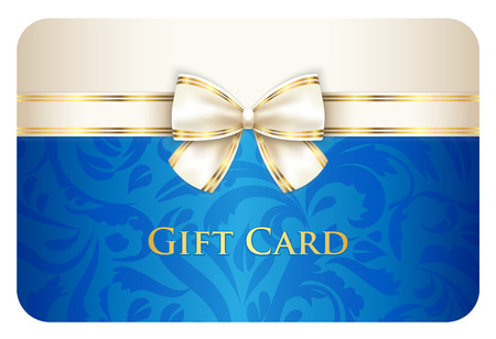 Blauwe gift card met damastornament en room lint