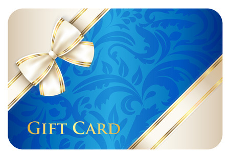 membership: Blue gift card with damask ornament and cream diagonal ribbon