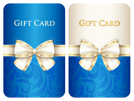 Blue vertical gift card with damask ornament and cream diagonal ribbon Vector