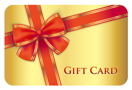 gift: Golden gift card with red diagonal ribbon