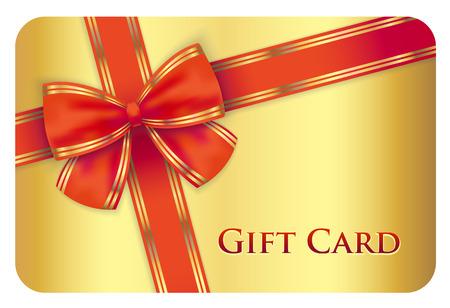Goldene Geschenk-Karte mit roten diagonalen Band Standard-Bild - 34206804