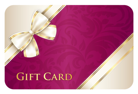 Scarlet gift card with cream diagonal ribbon Vectores