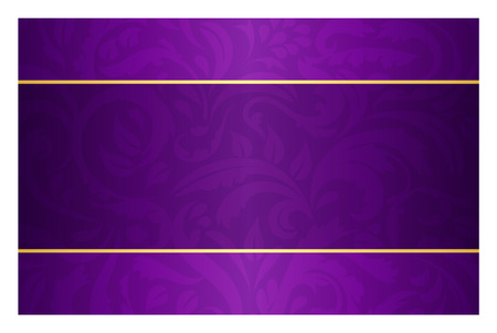 Purple card with vintage pattern and golden label Vectores