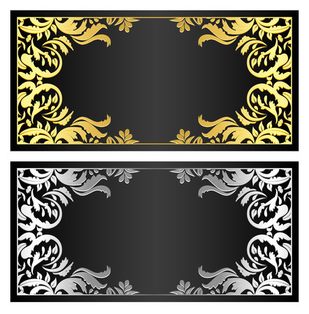 Black gift coupon with gold and silver ornament Vectores