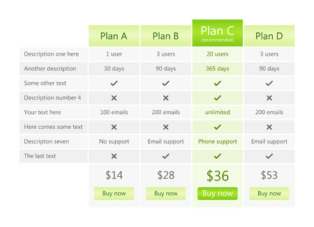 pricing: Modern grey pricing table with green recommended plan