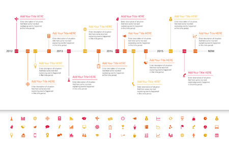 Modern flat timeline with red, orange and yellow milestones and icons