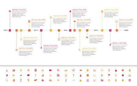mapa de procesos: Cronología plana moderna con hitos e iconos rojos, naranjas y amarillos