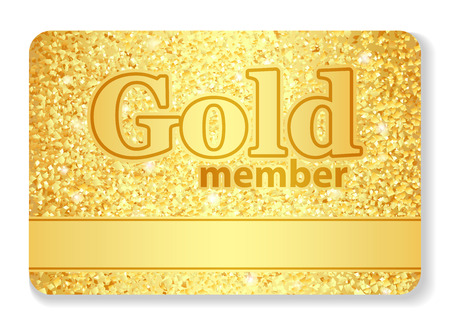 membership: Gold member VIP card composed from glitters Illustration