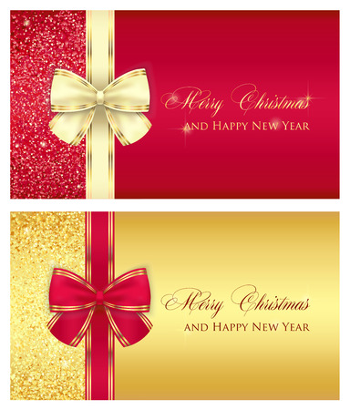 Red glossy gift card with cream ribbon Illusztráció