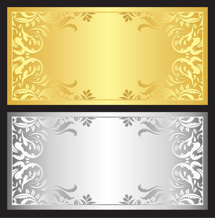 Gold and silver gift coupon with damask ornament 版權商用圖片 - 34232521