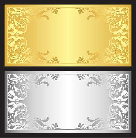 Goud en zilver cadeaubon met damastornament Stock Illustratie