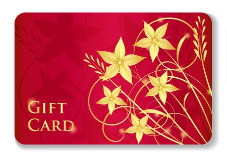 giveaway: Lujo tarjeta de regalo de color rojo con remolinos y flores de oro